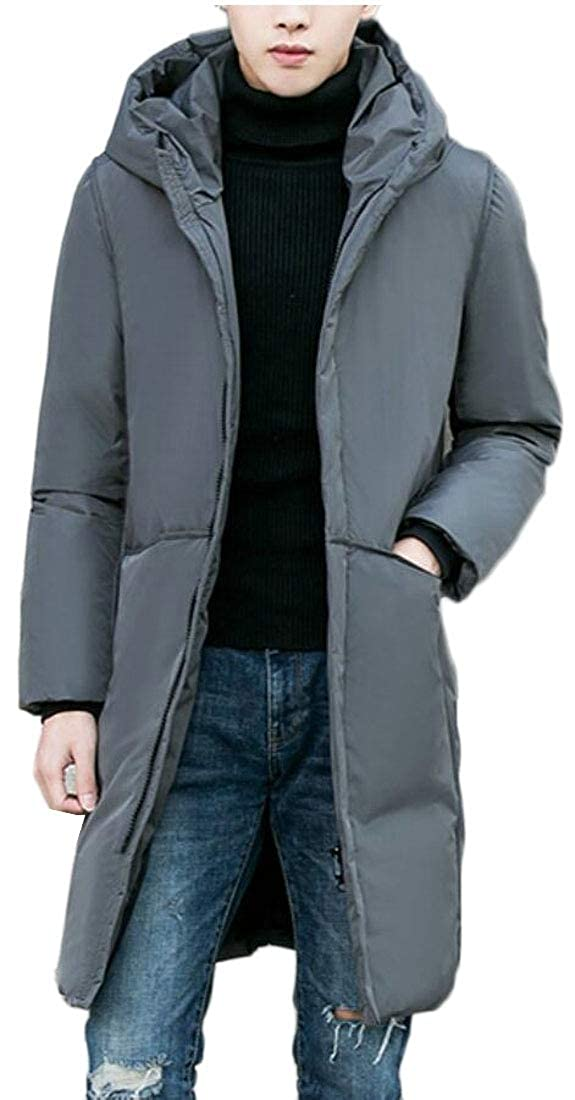 Keaac Men Thick Zip Winter Quilted Hooded Mid Long Length Down Jacket Coat