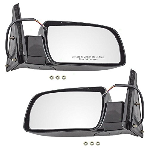 Power Side View Mirrors Standard Type w/Plastic Base Driver and Passenger Replacement for Chevrolet GMC Pickup Truck SUV 15764757 15764758