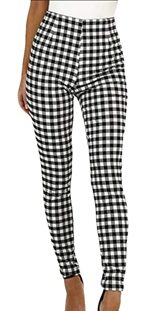 9915b450a925 Womens Skinny Plaid Checked Trousers Pants Slim Fit Leggings Bottom at  Amazon Women's Clothing store: