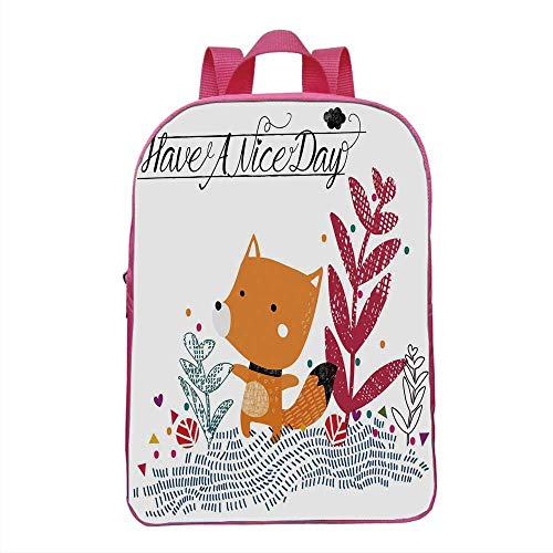 Fox Fashionable Backpack,Cute Little Fox Character Colorful Geometric Spring Field Have a Nice Day Text Dots for School Travel,One_Size
