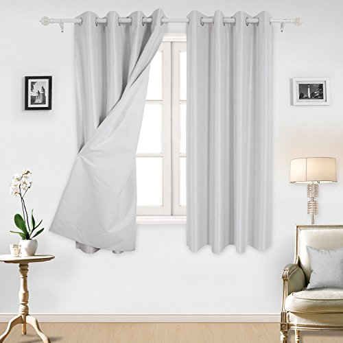 Deconovo Striped Textured Window Treatment Set Thermal Insulated Blackout Curtain Panels for Kids Room Sliver White 52W x 63L Inch 2 - Sliver White