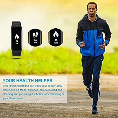 Fitness Tracker, Heart Rate Monitor Bluetooth Wristband Track Health/Calories/Step, Waterproof Smart Watch for iPhone & Android phones