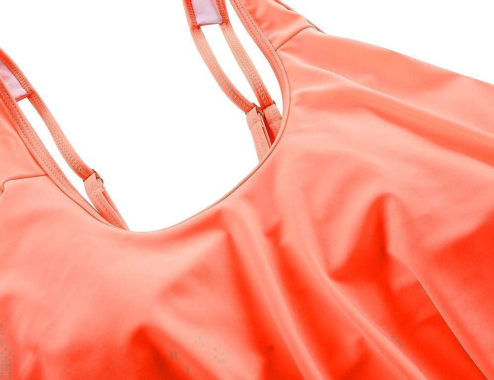 Mycoco Womens High Waist Bikini Crop Flounce Two Piece Swimsuits Flowy Bathing Suit