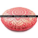 Indian Ombre Mandala Tapestry, Round Seating Pouf Ottoman, Mandala Floor Pillow, Meditation Pillow Cover, Handmade Pillow Insert, Mandala Pillow Throw, Boho Pillow (Cover Only) (Red Golden)