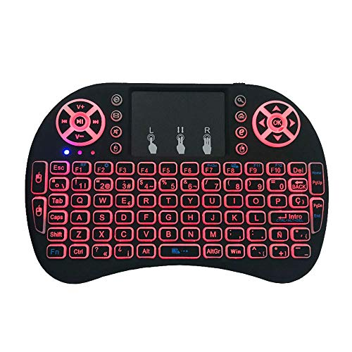 (Hanbaili Wireless Keyboard Portable Wireless Mouse with Combo Multicolor Backlight Touchpad Backlight Touchpad Multimedia for I8)