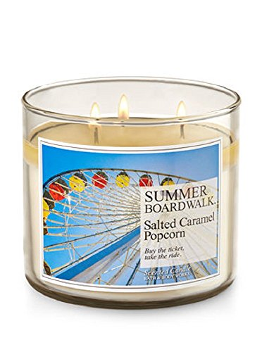 Bath & Body Works 3 Wick 14.5 Ounce Candle Summer Boardwalk Salted Caramel Popcorn Scented