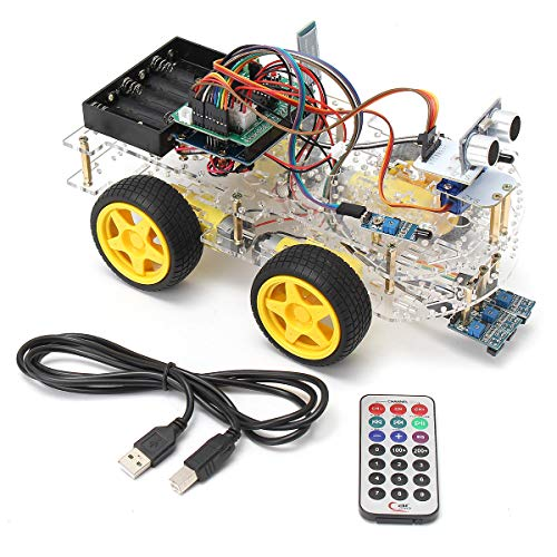 Price comparison product image 4WD Programmable Smart Robot Car Starter Kit With Remote Control for - Arduino Compatible SCM & DIY Kits Smart Robot & Solar Panel - 1 x Smart Robot Car Kit
