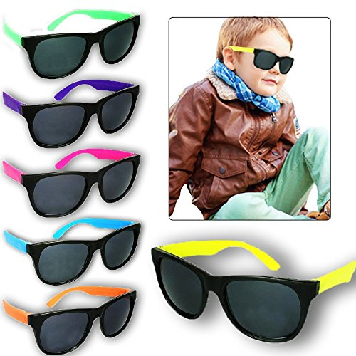 Toy Cubby Wayfarer Style Sunglasses Classic Toddler Kids Party Favors - 24 Pieces 4 ½ Inches - For Can Eclipse Be Sunglasses Used