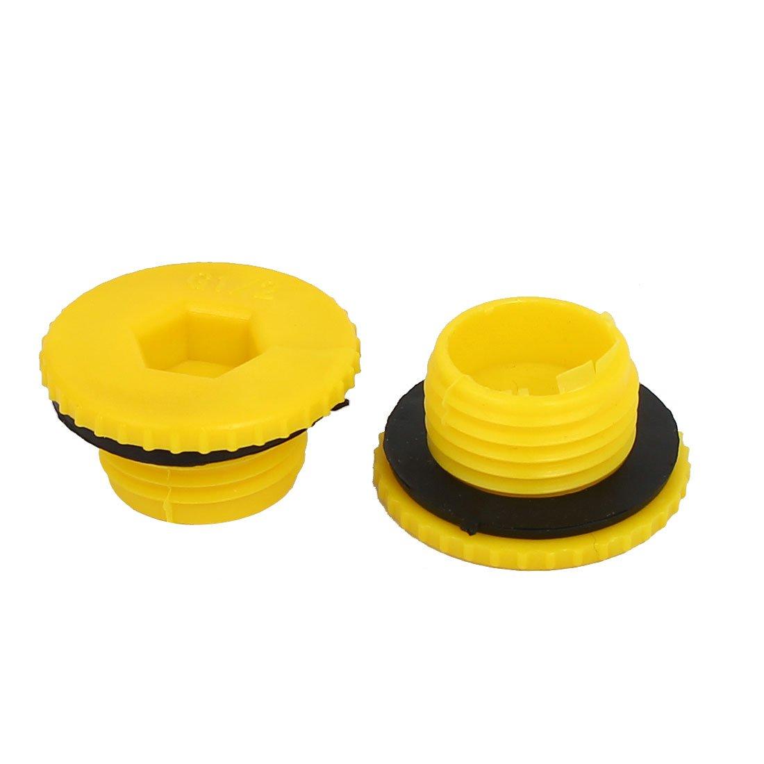 uxcellG1//2 Hex Socket Design Plastic Male Threaded Sealing Cap Yellow 5pcs