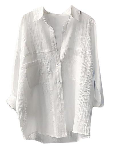 d59a6b2d Pandapang Womens Loose Solid Long Sleeve Comfy Linen Button Down Shirt White  M