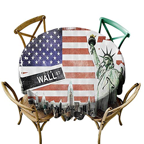 Jbgzzm Oil-Proof and Leak-Proof Tablecloth American Flag Decor NYC Collage with Famous Monuments Wall Street and Manhattan Urban Display Party D39 Multi]()