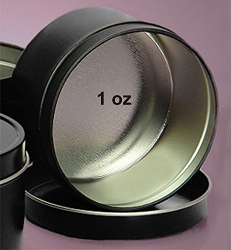 MagnaKoys Deep 1oz Empty Black Slide Top Round Tin Containers for Lip Balm, Crafts, Cosmetic, Candles (10) (Best Price On 1 Oz Silver Rounds)