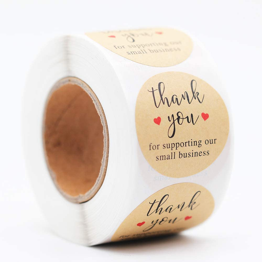 Amazon Com Yoget 1 5 Thank You For Supporting Our Small Business Kraft Paper Thank You Stickers 500 Labels Per Roll Office Products