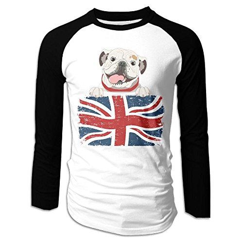 Men's English Bulldog Tri-Blend Long Sleeve T-Shirt Raglan Size XL Color (Star Fox Dog Costume)