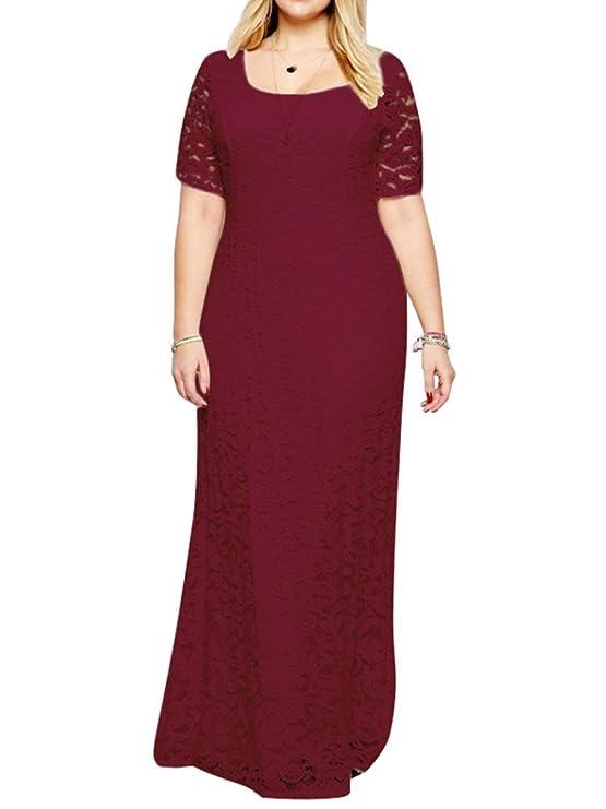 b6ad111eae ZiXing Grande Taille Dentelle Longue Robe de Femme Tenue de Soirée O-Col:  Amazon.fr: Vêtements et accessoires