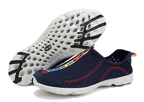welltree Damen und Herren schnell trocknend atmungsaktiv Mesh leichte Slip auf Aqua Wasser Schuhe 1-Marine