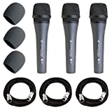 Sennheiser E835 Dynamic Cardioid Vocal Microphone Pack of 3 + 3x Mic Cable, 20 ft. XLR Bulk + 3x Foam Windscreen, Black + Deluxe Accessory Bundle