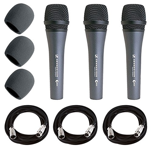 Sennheiser E835 Dynamic Cardioid Vocal Microphone Pack of 3 + 3x Mic Cable, 20 ft. XLR Bulk + 3x Foam Windscreen, Black + Deluxe Accessory Bundle by Sennheiser