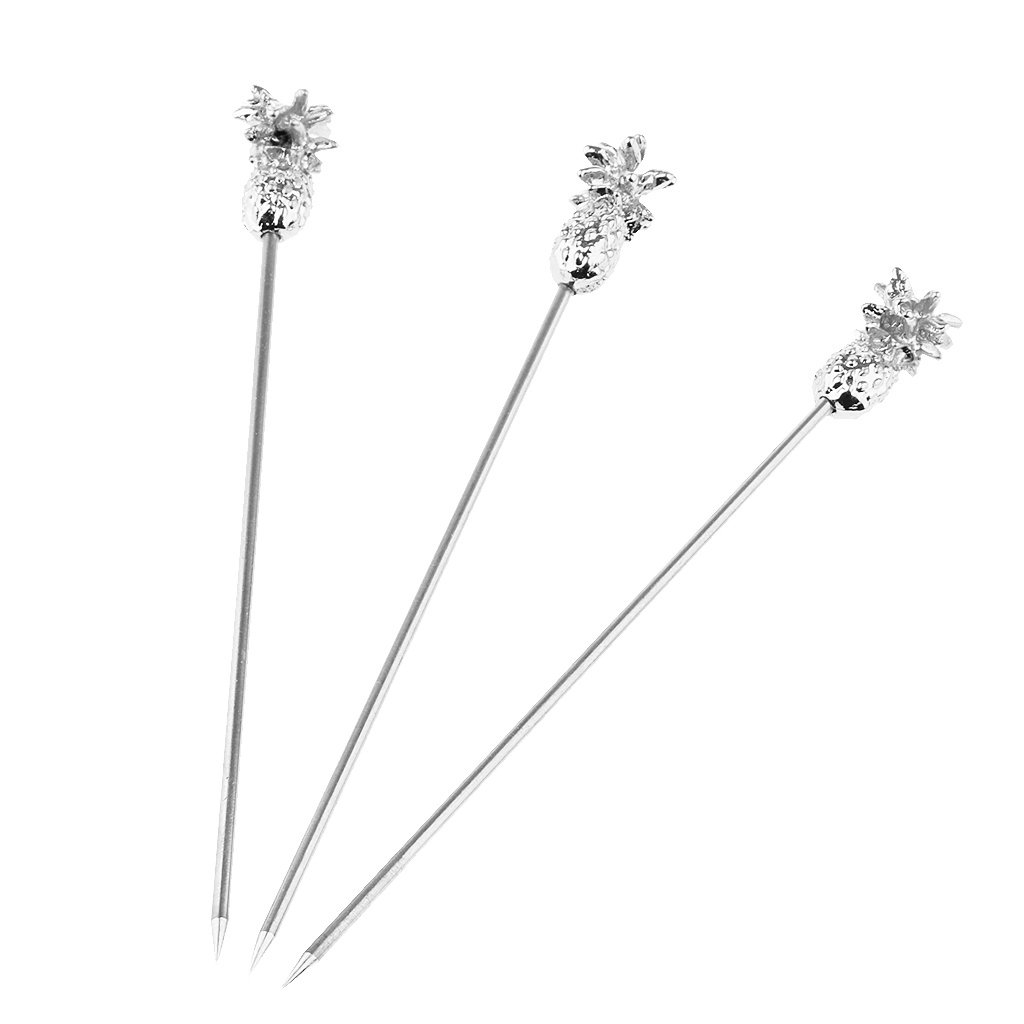 3 Pieces Stainless Steel Cocktail Martini Picks Pineapple Design for Drink Bar Kitchen Party Silver