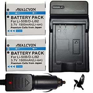 Two Halcyon 1500 mAH Lithium Ion Replacement Battery and Charger Kit for Olympus Tough TG-820 iHS 12.0 MP Digital Camera and Olympus LI-50B