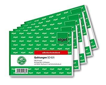Sigel SD021 Quittungsblock A6 quer, 2x40 Blatt, selbstdurchschreibend, 5er Pack Sigel GmbH 021S5