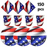 "The Twiddlers Disposable Paper Dinnerware for 50 - ideal Tableware for Independence day Party; 4th July & Veteran's Day- 50 9"" Plates, 50 9OZ Cups, 50 2 Layer Napkins"