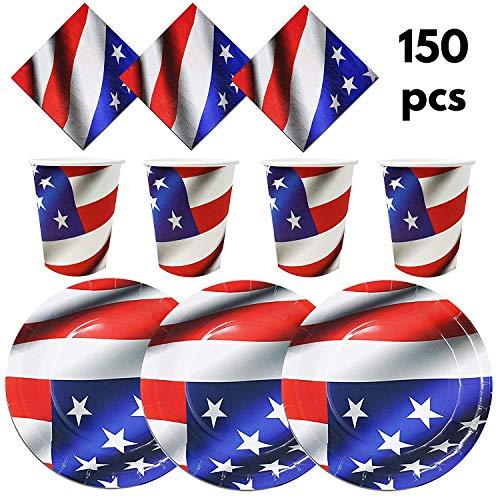 "The Twiddlers Disposable Paper Dinnerware for 50 - ideal Tableware for Independence day Party; 4th July & Veteran's Day- 50 9"" Plates, 50 9OZ Cups, 50 2 Layer -"