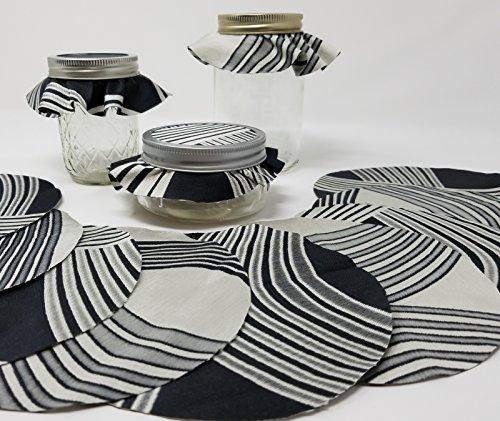 Taffeta Black Silver-Tone Reversible Jar Toppers Dozen (12), Fabric Circles for Canning, YoYo
