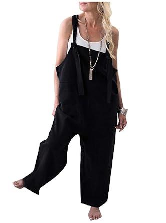 8fceca22c0c2 YUNY Womens Cotton Linen Blend Overalls Palazzo Wide Leg Bib Pants Black XS