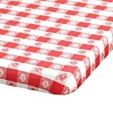 Hoffmaster 221113 Kwik-Cover Plastic Banquet Tablecover, 72'' Length x 30'' Width, Red Gingham (Case of 25)