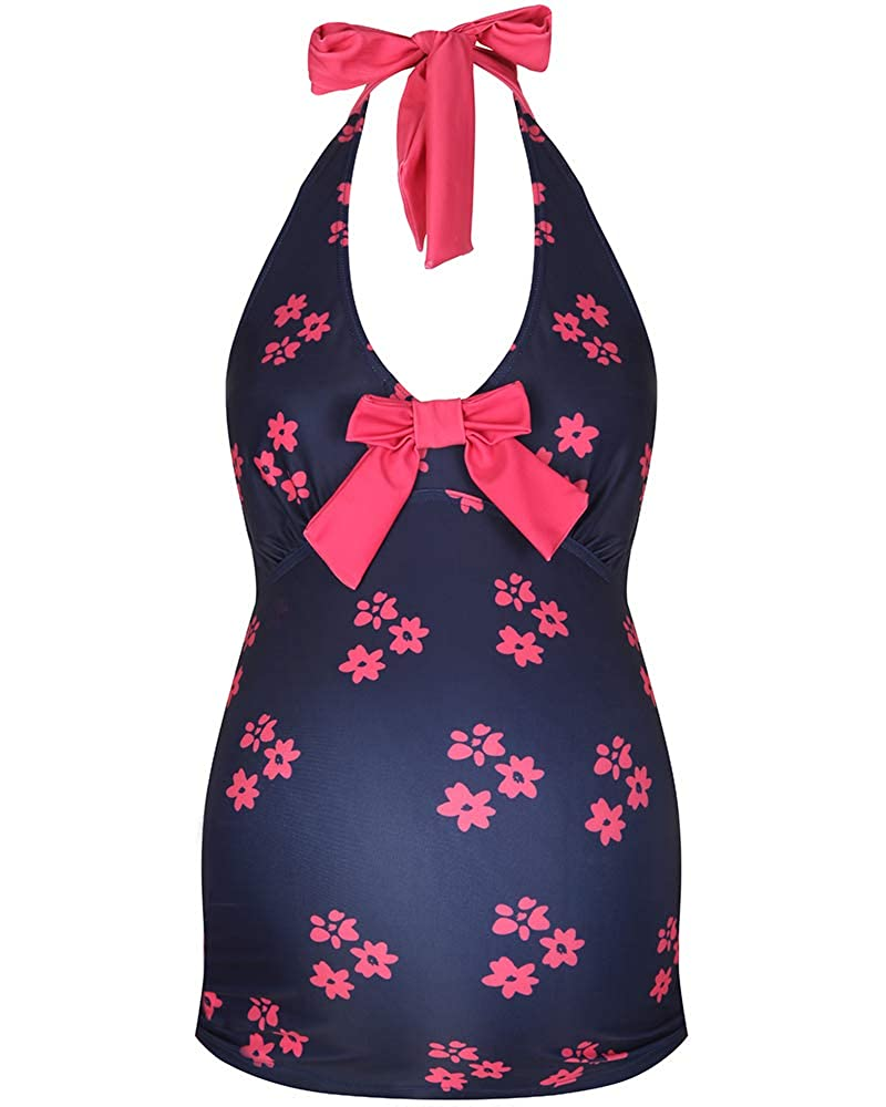 Womens Maternity Floral Tankini Swimwear Navy Coral The Essential One EOM128