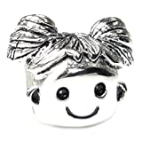 .925 Sterling Silver Happy Girl Charm Bead Charm For European Charm Bracelets by Queenberry