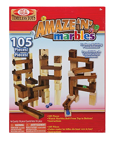 Ideal Amaze 'N' Marbles 105 Piece Classic Wood Construction Set -