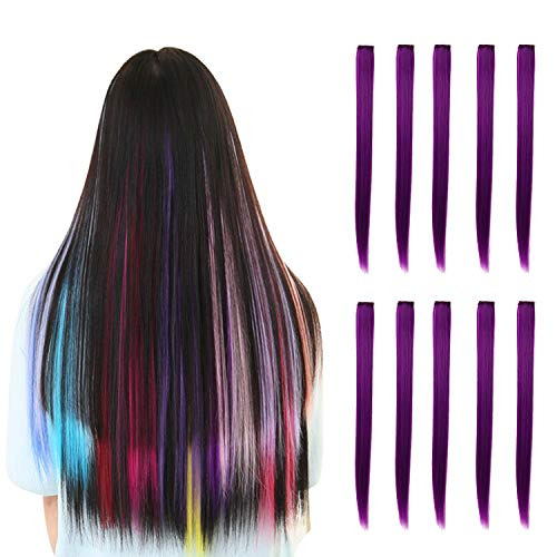 (Rosette Hair 20 Inch 10pcs/set Multiple Colors Colored Hair Extensions-Party Highlights Straight Heat Hairpieces-Synthetic Clip on in Hair Extensions (dark purple))