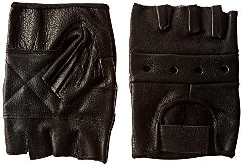 Mens Black Leather Fingerless Gloves - 9