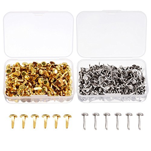 Shappy 500 Pieces Paper Fasteners Brass Plated Scrapbooking Brads Round Metal Brads with Storage Box for Crafts Making DIY, Gold and Silver Gold Scrapbooking Brads