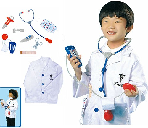 GradPlaza Children Doctor Dress Up Surgeon Costume Role Play Set With accessories, White, One Size -