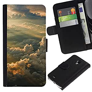 NEECELL GIFT forCITY // Billetera de cuero Caso Cubierta de protección Carcasa / Leather Wallet Case for Samsung Galaxy S4 Mini i9190 // Puesta del sol soñadora Montañas