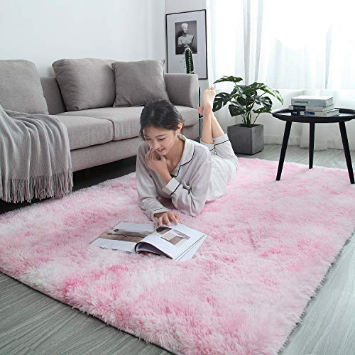 LOCHAS Luxury Velvet Shag Area Rug Modern Indoor Fluffy Rugs, Extra Comfy and Soft Carpet, Abstract Accent Rugs for Bedroom Girls Living Room Home Kids, 4x6 Feet Pink/White