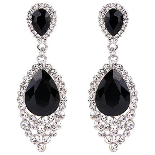 Black Earrings Costumes (BriLove Women's Wedding Bridal Crystal Teardrop Cluster Beads Chandelier Dangle Pierced Earrings Black Silver-Tone)