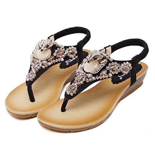 D2C Fashion Beads Women's Sandals Black Fox Thong Beauty Flat Rhinestone wAqZw64F