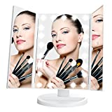 Lighted Vanity Mirror Table LeJu Lighted Vanity Mirror with 21 LED Lights, Touch Screen and 3X/2X/1X Magnification, White