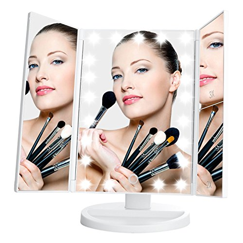 Leju Lighted Vanity Mirror With 21 Led Lights  Touch Screen And 3X 2X 1X Magnification  White