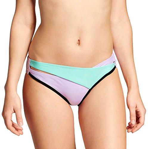 (Xhilaration Women's Cross Over Cheeky Bikini Bottom (Small, Lilac/Mint) )