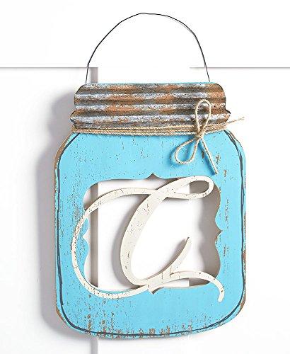The Lakeside Collection Mason Jar Door Hanger C (Sawtooth Monogram)