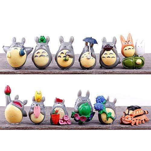 Micro Landscape Design 12 pcs Miniature Totoro Figures Set Perfect Size for Fairy Garden Terrarium
