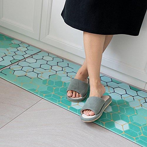 Kitchen Mat,Classic Comfort Chef Soft Non-Slip Waterproof Rubber Carpet Kitchen Floor Mats Oil Proof Doormat Runner Bathroom Area Rugs with Anti Curling Rug Gripper (18