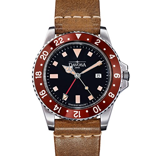 (Davosa Swiss Made Quartz Quality Watch - Luxury GMT Dual Time Analog Dial Vintage Fashion Watch with Genuine Leather Wrist Band)