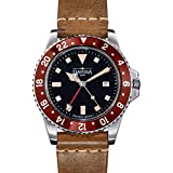 Davosa Swiss Made Quartz Quality Watch - Luxury GMT Dual Time Analog Dial Vintage Fashion Watch with Genuine Leather Wrist Band (16250065)