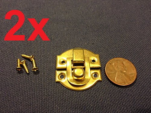 Doll Antique Wood (2 Sets Gold Mini Dollhouse Antique Wood Latch Sets Box Case Lock Hinge Small C6)